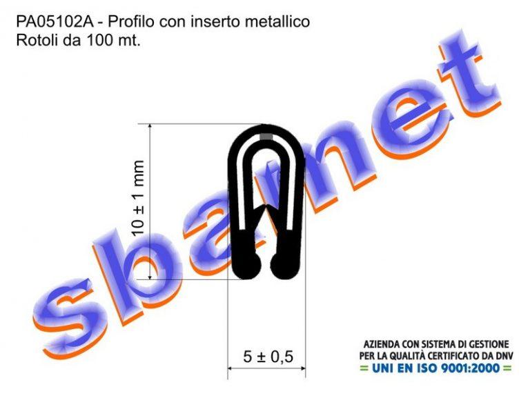 profilo armato a U in pvc con inserto metallico e goffratura PA05102A