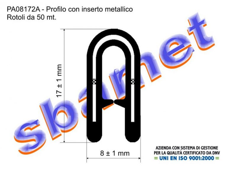 profilo armato a U in pvc con inserto metallico e goffratura PA08172A