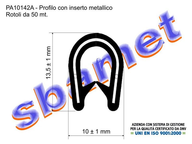 profilo armato a U in pvc con inserto metallico e goffratura PA10142A