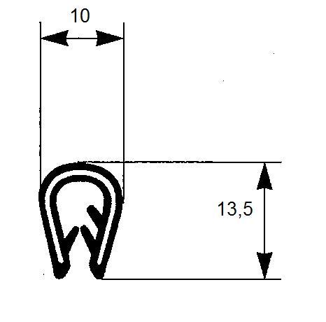 profilo armato a U in pvc con inserto metallico e goffratura PA10143A