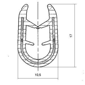 profilo armato a U in pvc con inserto metallico e goffratura PA10174A